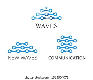 Vector image of the waves consisting of molecules. Set of logos in blue. It symbolizes technology, medicine, biology, chemistry and other sciences.