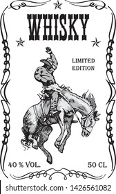 vector image of a whiskey label with a cowboy pattern stealing a wild horse mustank in vintage engraving style
