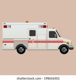 Vector image of an white car Ambulance