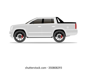 Vector image of a white pickup truck with black wheels