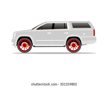 Vector image of a white pickup truck with red wheels and cap