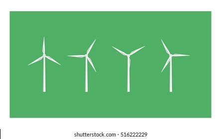 Vector image of white wind turbines on a green background