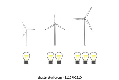 Vector image of wind turbines and light bulbs increasing in size and number.