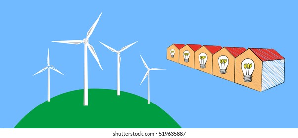 Vector image of wind turbines and a row of houses with light bulbs