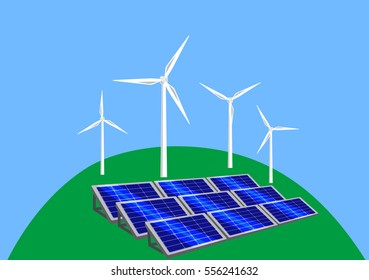 Vector image of wind-turbines and solar panels on a hill