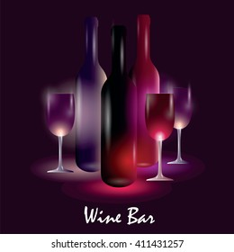 Vector image with wine bottles and glasses on dark purple background with lights and sign. Wine bar