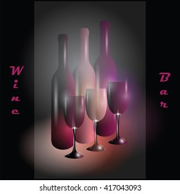 Vector image with wine bottles and glasses on dark background with lights and sign. Wine bar