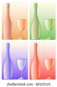 Vector image of wine bottles and glasses