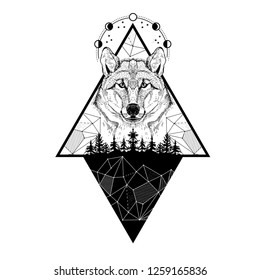 Vector image of a wolf, moon phases, forest and triangles. Tattoo art. T-shirt design
