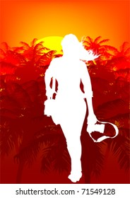 Vector image woman with a camera on a background of tropical forest