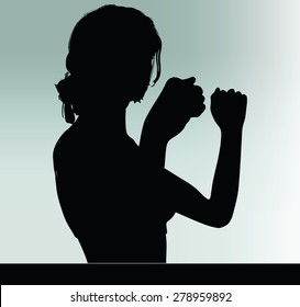 Vector Image - woman silhouette with hand gesture power and might
