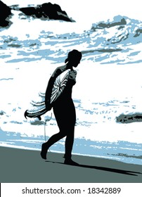 Vector image of woman walking with surfboard on the beach