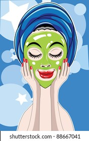 Vector image of a woman who put on face mask at a spa