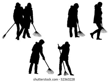 Vector image of women, sweeping leaves