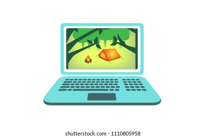 Vector image of a woodland camping scene on a laptop