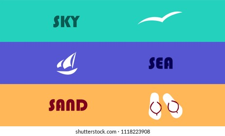 Vector image of the words sky, sea and sand in a retro style, on a block coloured background, with relevant symbols