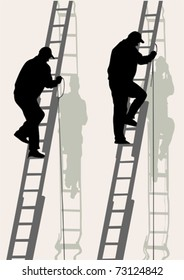 Vector image of working on a high ladder against wall