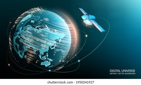 Vector image. World Wide Web. A satellite in orbit transmits a signal to the surface of our planet. Internet. Modern technologies and global communications. Blue technological background. Planet Earth