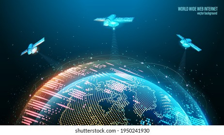 Vector image. World Wide Web. Satellites in orbit transmit a signal to the planet's surface. Technological blue background. Planet Earth and outer space. Contours of continents and abstract lights.