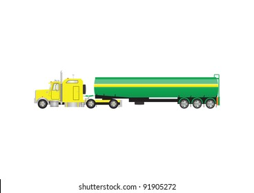 A Vector Image of a Yellow and Green Gasoline Tanker Truck