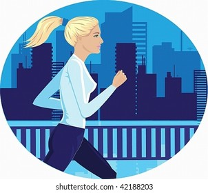 vector image of a young girl, she makes a jog on the background of the city