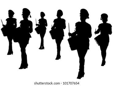 Vector image of young girls with drums