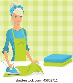 Vector image of a young housewife is ironing.
