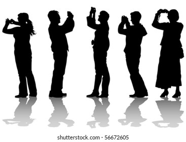 Vector image of young women and boys photographers with equipment at work