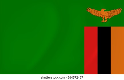 Vector image of the Zambia waving flag