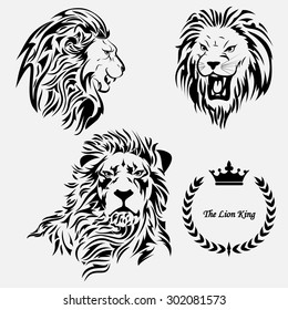 Vector image.Outline of a lion on a grey background