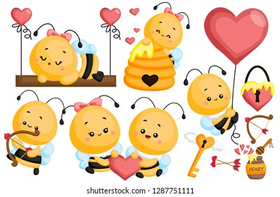 a vector images of bee in love