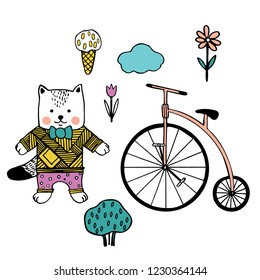 Vector images of cat, retro bike, ice cream, clouds and flower. Set of illustrations for children