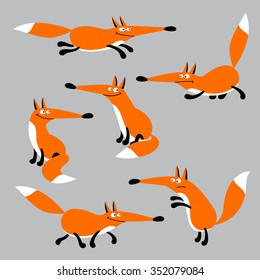 Vector images of cheerful cartoon fox in various poses.