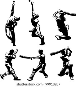 Vector Images of Cricket Players Silhouettes Throwing and Hitting Ball