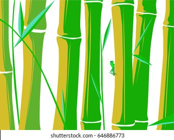 Vector images with a grasshopper resting in bamboo plants over a white background.