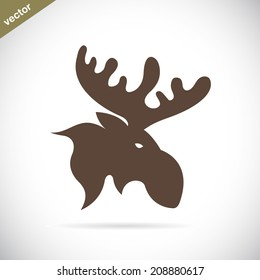 Vector images of moose deer head on a white background. Wild Animals.