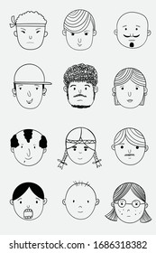 Vector images of people in various countries.Doodle art concept,illustration painting