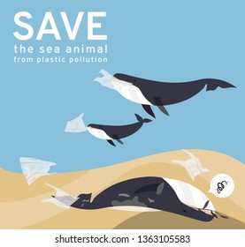 Vector images reflect current social problems, Marine pollution Whales eat plastic bags and garbage in the sea, causing many animals die. the illustration of dead whales stranded on the beach