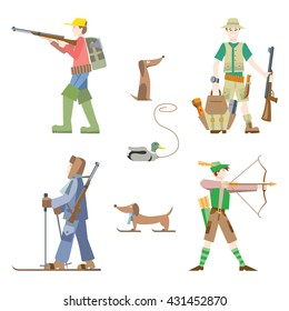Vector images set. Hunters with gun and bow.