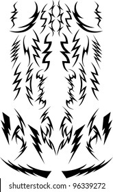Vector Images of a Variety of Lightning Bolts