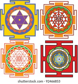 vector images of yantra(Bhuvaneshvari yantra, Shri Yantra, Mahamrityunjaya yantra)