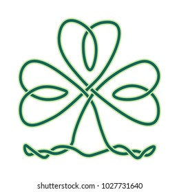 Vector imitation of celtic knotwork or Icovellavna: clover or shamrock endless knot as design element for St. Patricks day. Shamrock knot is great also as irish symbol of luck, win and success.