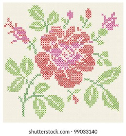 Vector imitation of the vintage blanket with embroidery Rose ornate./ Cross stitch rose./ Cross-stitch.
