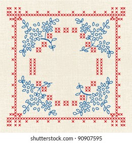 Vector imitation of the vintage cross-stitch floral ornate