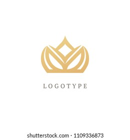 Vector imperial luxury crown logo design. Line art ornate symbol. Vintage premium king, queen vector sign. Emblem luxury beauty spa, cosmetics, jewelry, hotel, restaurant. Wedding elegant outline icon