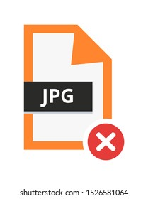 Vector incorrect disapproved jpg or jpeg file. Flat icon with red cancel sign – error. Symbol of not accepted file with lossy compression for pictures, photos, images and graphic isolated white.