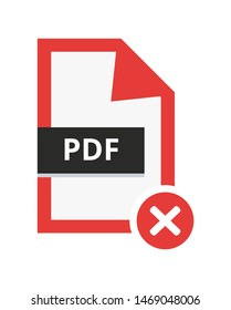 Vector incorrect disapproved pdf file. Flat icon with red cancel sign – error. Symbol of not accepted portable document file for web and print isolated on a white background.