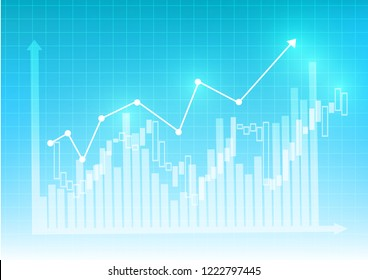 Vector : Increasing business graph with on blue grid background