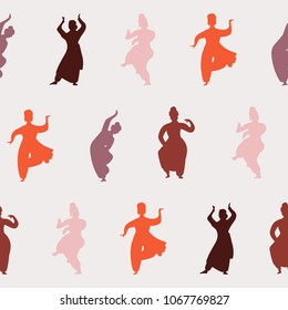 Vector India dance woman seamless pattern. Bollywood style dancer silhouette