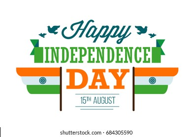 vector india independence day greeting card